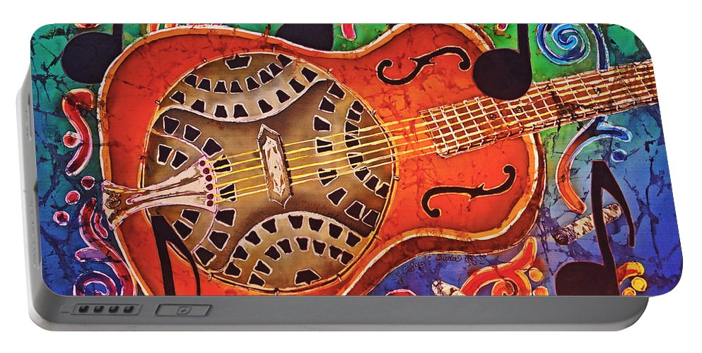 Dobro Portable Battery Charger featuring the tapestry - textile Dobro - Slide Guitar by Sue Duda