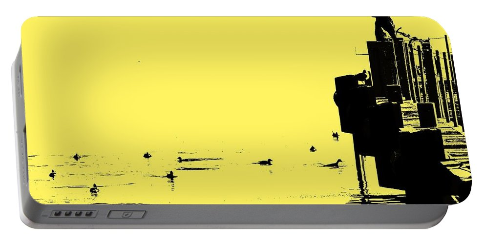Dock Portable Battery Charger featuring the photograph Dock And Ducks by Ian MacDonald