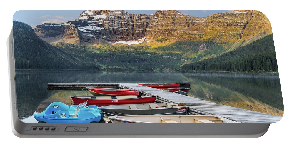 Waterton National Park Portable Battery Charger featuring the photograph Dock At Cameron Lake Waterton National Park by Jerry Fornarotto