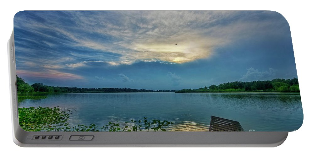 Clouds Portable Battery Charger featuring the photograph Dock At Shipshewana Lake by David Arment