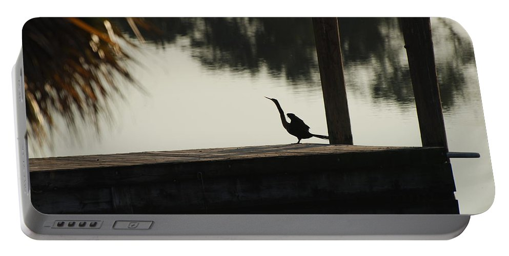 Reflections Portable Battery Charger featuring the photograph Dock Bird In Color by Rob Hans