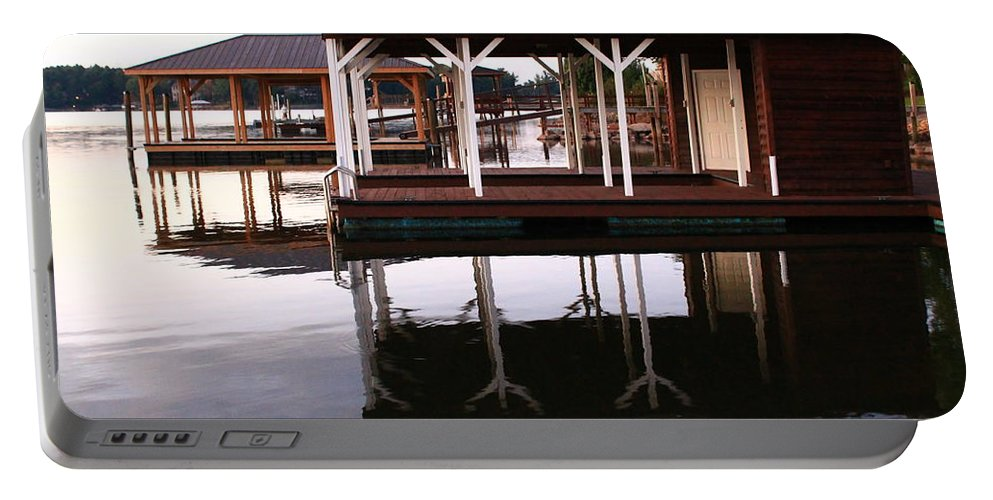 Sunrise Portable Battery Charger featuring the photograph Dock Reflections by Catie Canetti