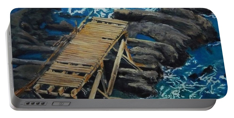 Dock Portable Battery Charger featuring the painting Dock by Travis Day