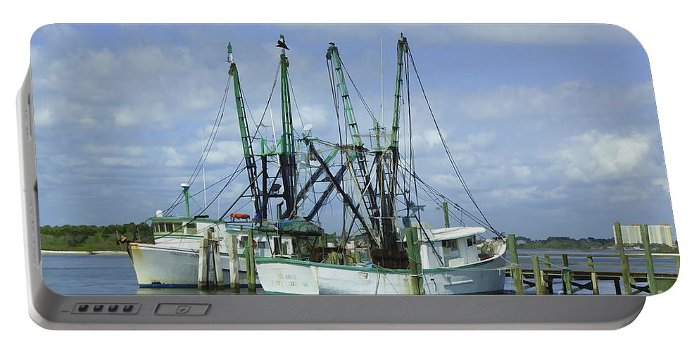 Fishing Portable Battery Charger featuring the photograph Docked In Port Orange by Deborah Benoit