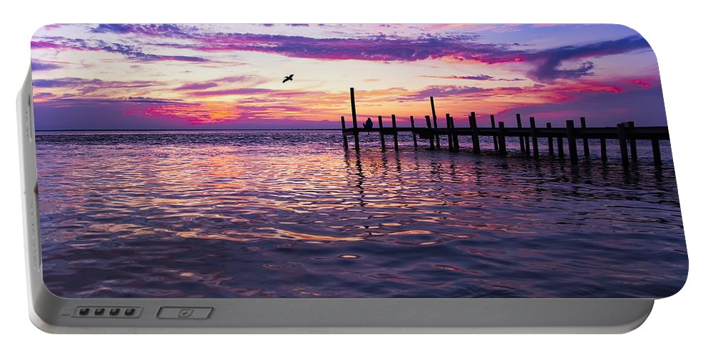Dock Portable Battery Charger featuring the photograph Dockside Sunset by Janet Fikar