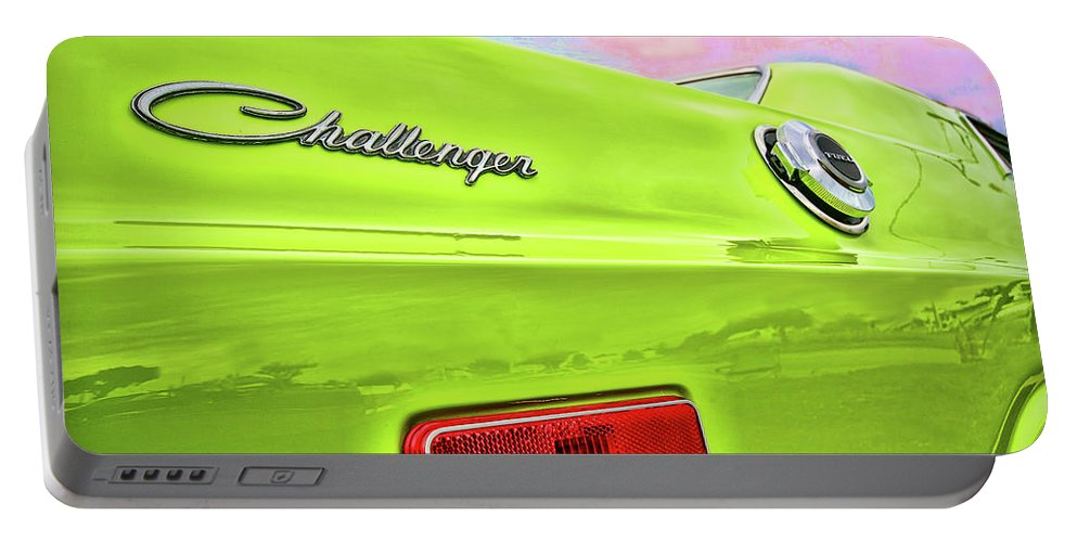 1972 Portable Battery Charger featuring the photograph Dodge Challenger In Sublime Green by Gordon Dean II