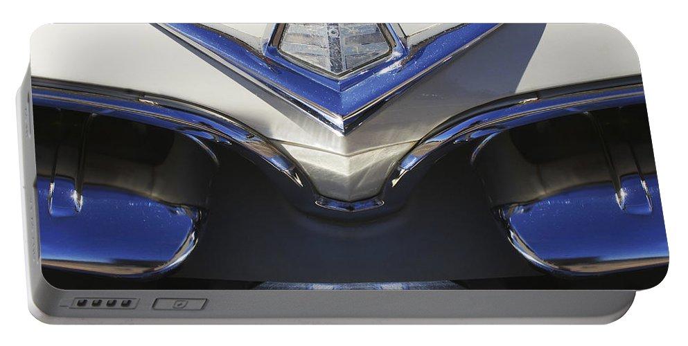 Dodge Custom Royal V8 Portable Battery Charger featuring the photograph Dodge Custom Royal V8 Hood Ornament by Jill Reger