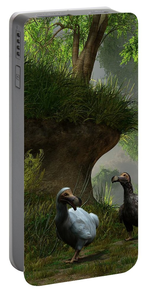 Extinct Portable Battery Charger featuring the digital art Dodos In The Forest by Daniel Eskridge
