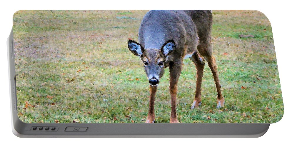 Doe Portable Battery Charger featuring the photograph Doe Stomp by Kristin Elmquist