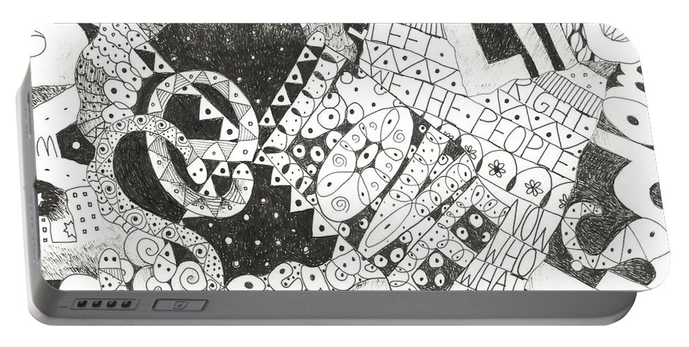 Words Portable Battery Charger featuring the drawing Does It Come With Instructions by Helena Tiainen