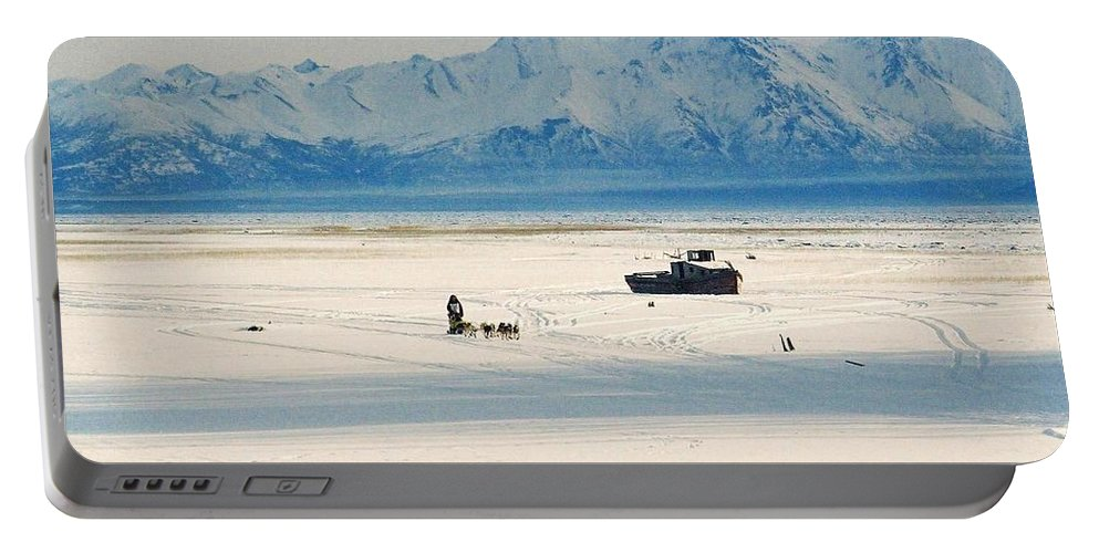 North Portable Battery Charger featuring the photograph Dog Musher At Cook Inlet - Alaska by Juergen Weiss