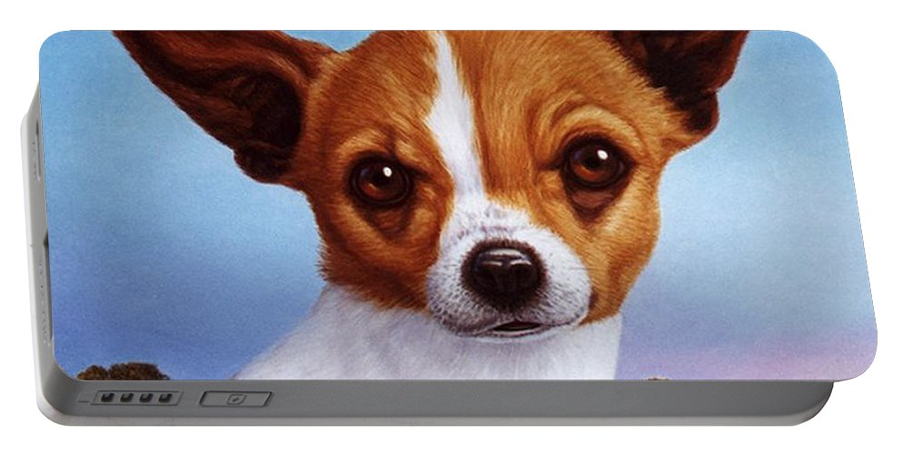 Chihuahua Portable Battery Charger featuring the painting Dog-nature 3 by James W Johnson