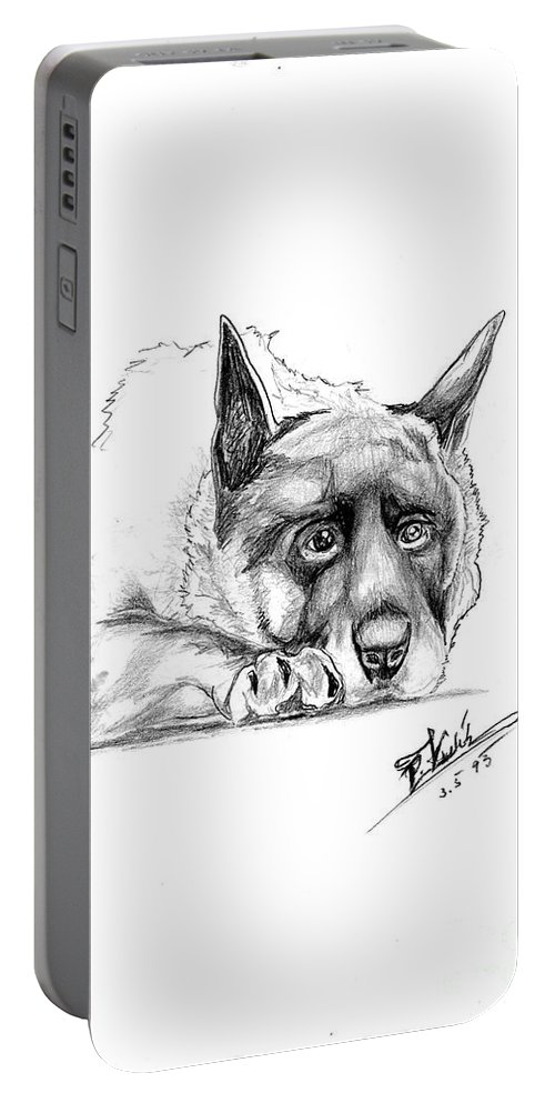 Dog Portable Battery Charger featuring the painting Dog Portrait by Peter Kulik