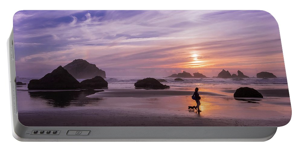 Beach Portable Battery Charger featuring the photograph Dog Walker by Steven Clark