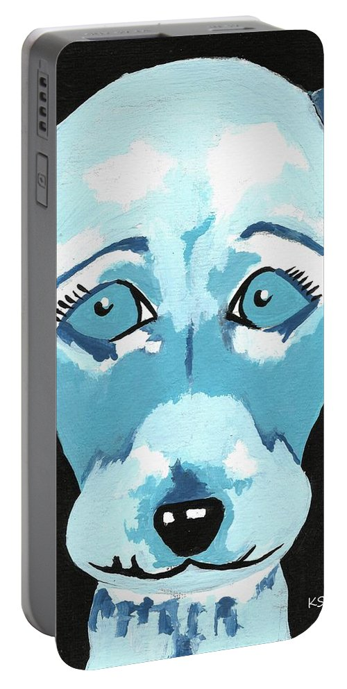 Dog Artwork Portable Battery Charger featuring the painting Doggie Blues by Kathleen Sartoris
