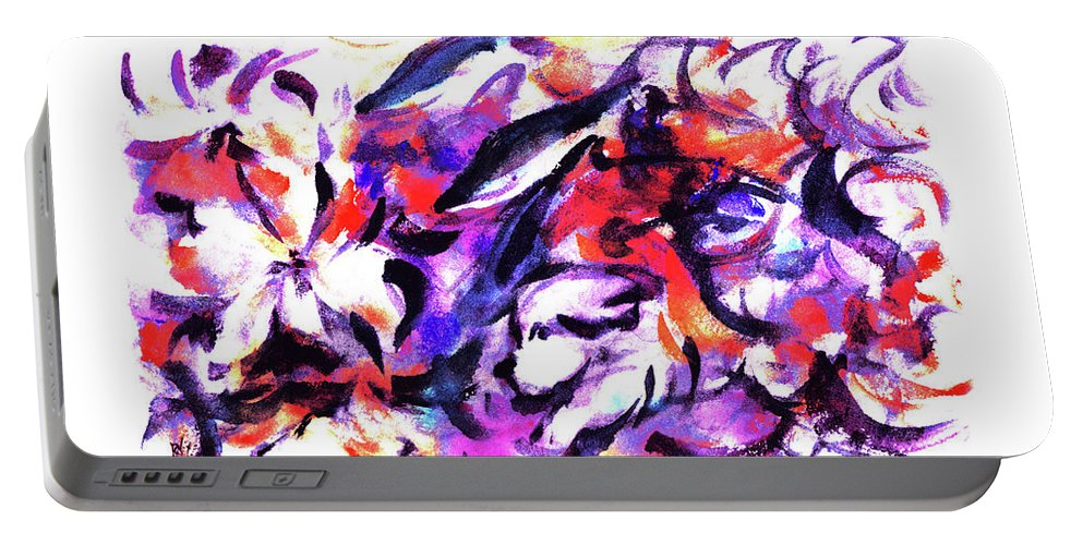 Flowers Portable Battery Charger featuring the painting Doggies And Dolphins by Rachel Christine Nowicki