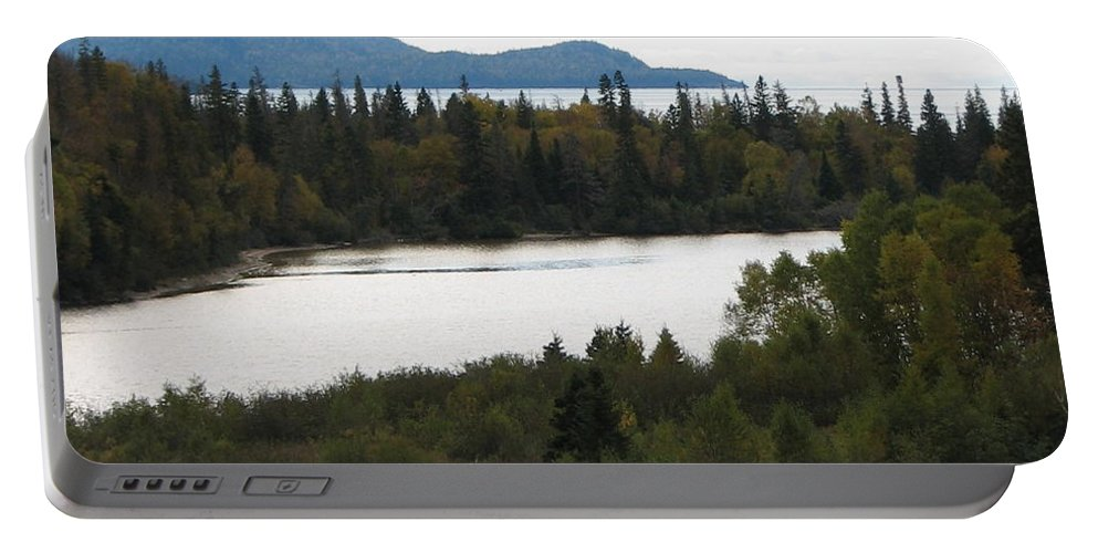 River Portable Battery Charger featuring the photograph Dogleg by Kelly Mezzapelle