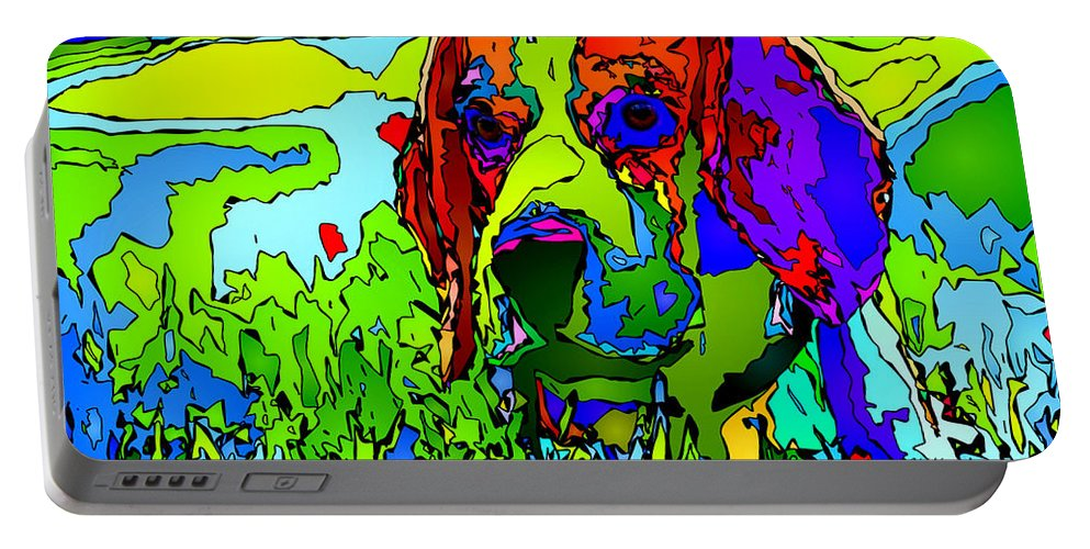 Dog Portable Battery Charger featuring the digital art Dogs Can See In Color by Rafael Salazar