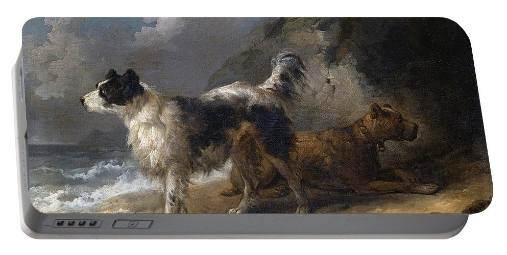 George Morland Portable Battery Charger featuring the painting Dogs On The Coast by George Morland