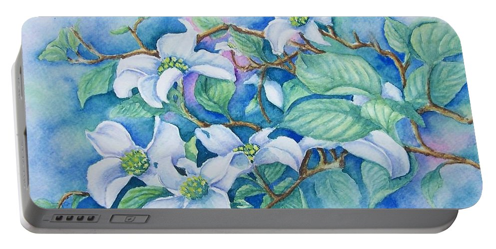 Floral Portable Battery Charger featuring the painting Dogwood by Conni Reinecke