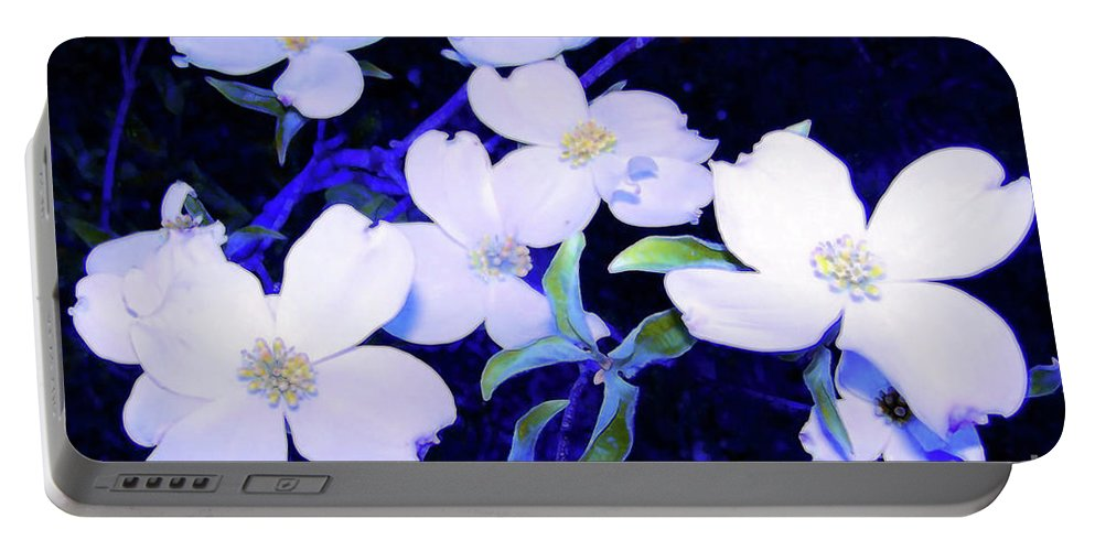 Portable Battery Charger featuring the photograph Dogwood Night Blooms by Shirley Moravec