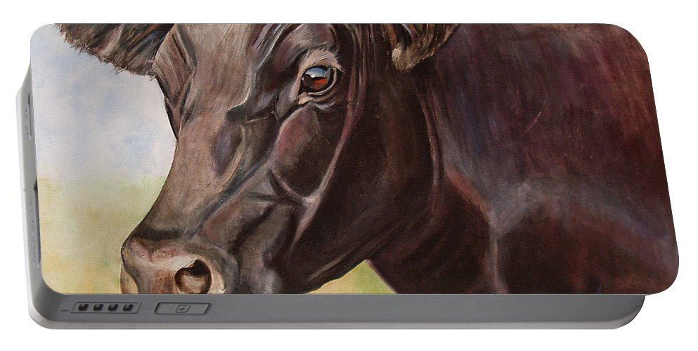 Cow Portable Battery Charger featuring the painting Dolly The Angus Cow by Toni Grote