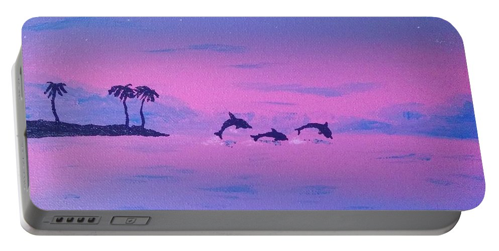Dolphine Portable Battery Charger featuring the painting Dolphin Island by Heather James