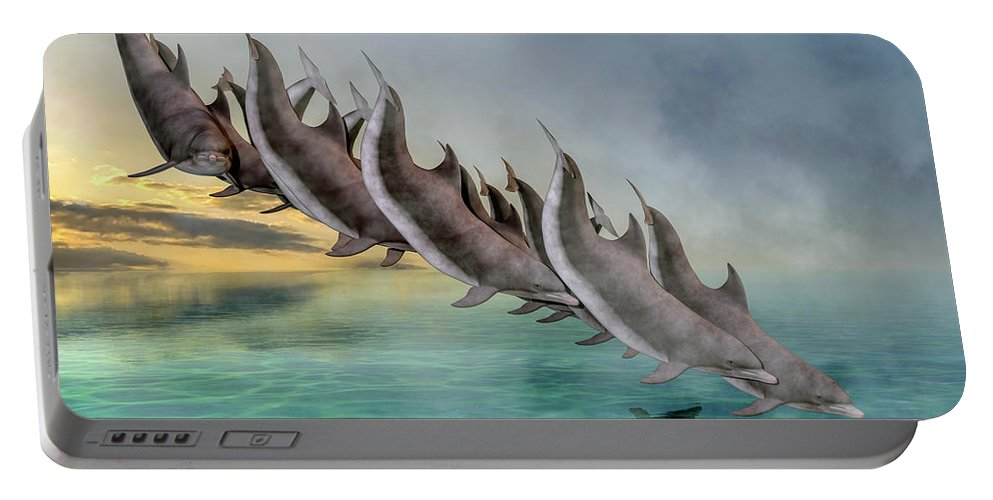 Dolphin Portable Battery Charger featuring the digital art Dolphins by Betsy Knapp