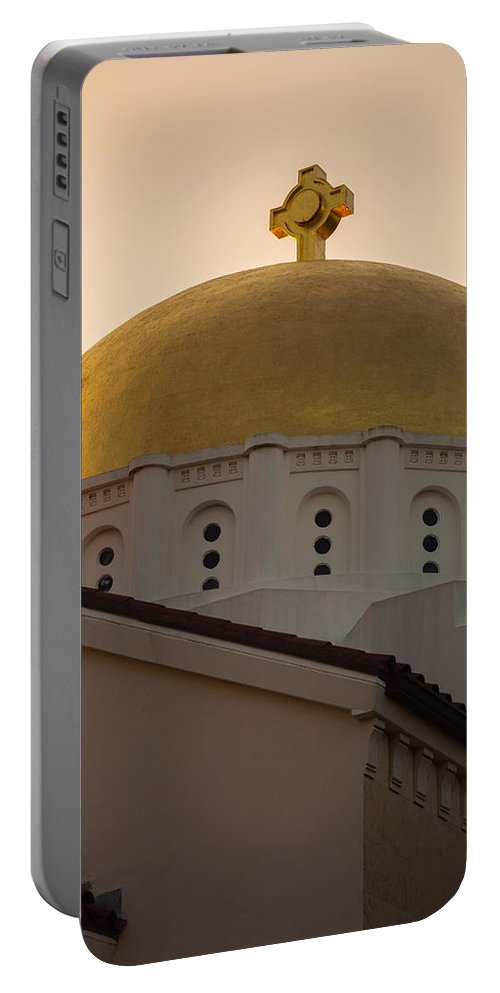 Architecture Portable Battery Charger featuring the photograph Dome And Cross At St Sophia by Ed Gleichman