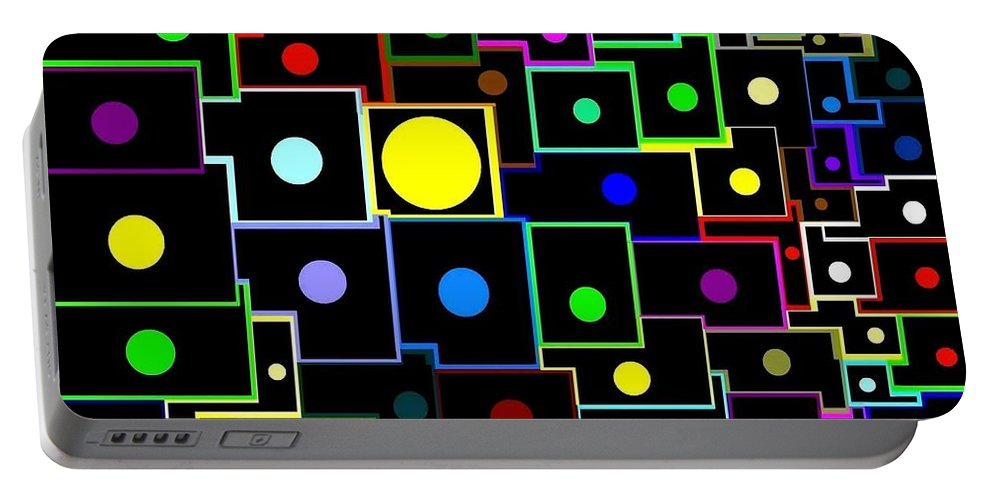 Abstract Portable Battery Charger featuring the digital art Domino Effect by Will Borden