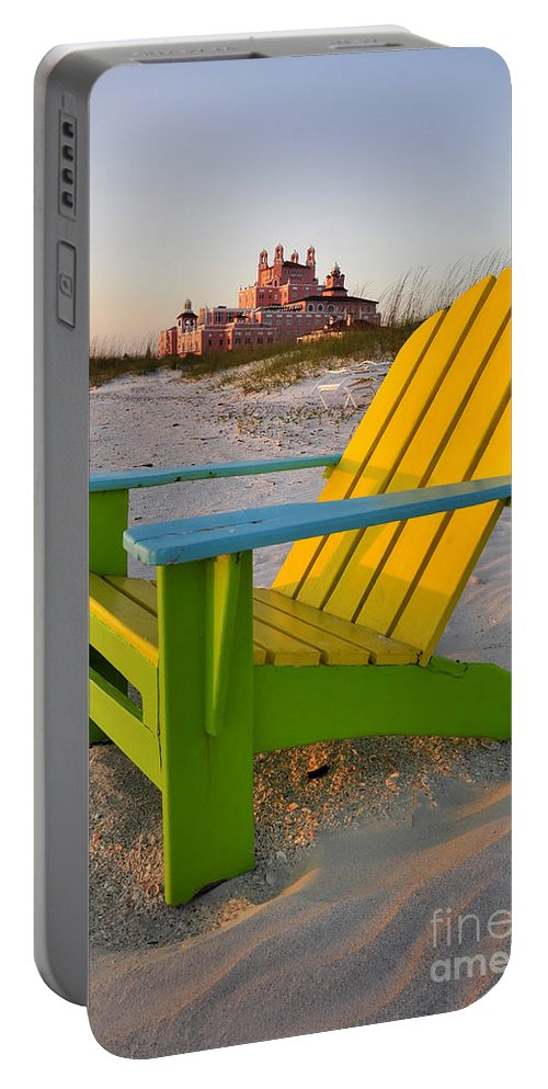Don Cesar Hotel Portable Battery Charger featuring the photograph Don Cesar And Beach Chair by David Lee Thompson