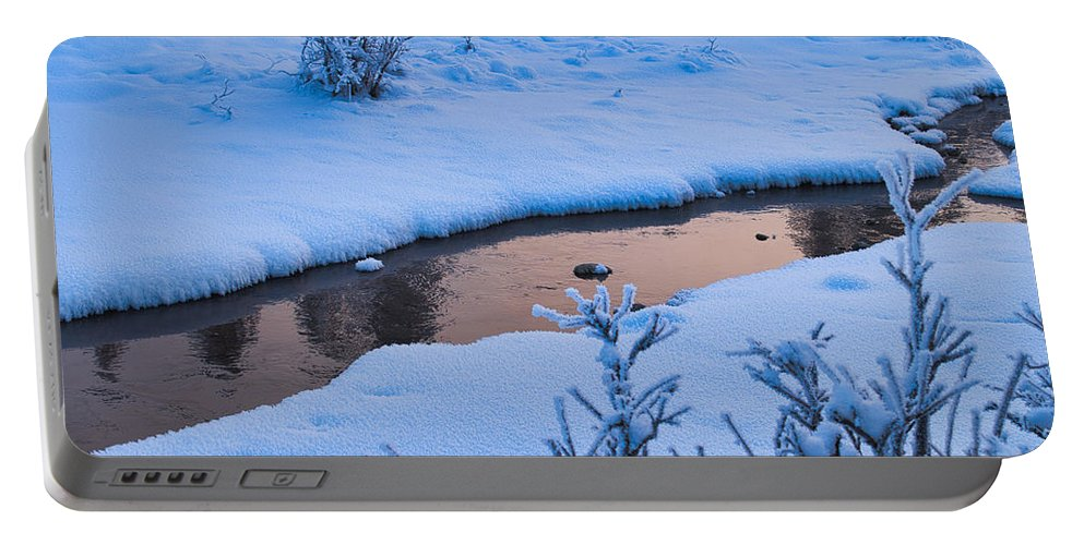 Creek Portable Battery Charger featuring the photograph Donnelly Creek In Winter by Cathy Mahnke