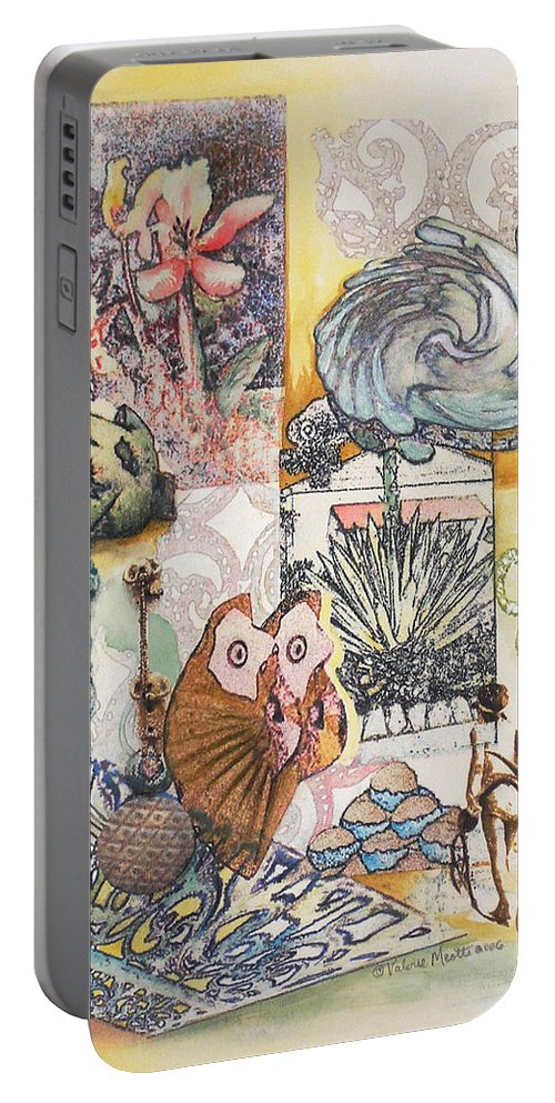 Abstract Portable Battery Charger featuring the painting Don't Artichoke by Valerie Meotti