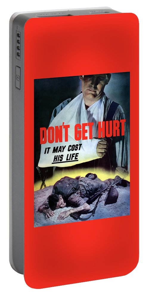 World War Ii Portable Battery Charger featuring the painting Don't Get Hurt It May Cost His Life by War Is Hell Store