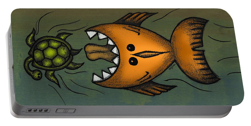 Fish Portable Battery Charger featuring the digital art Don't Look Back by Kelly Jade King
