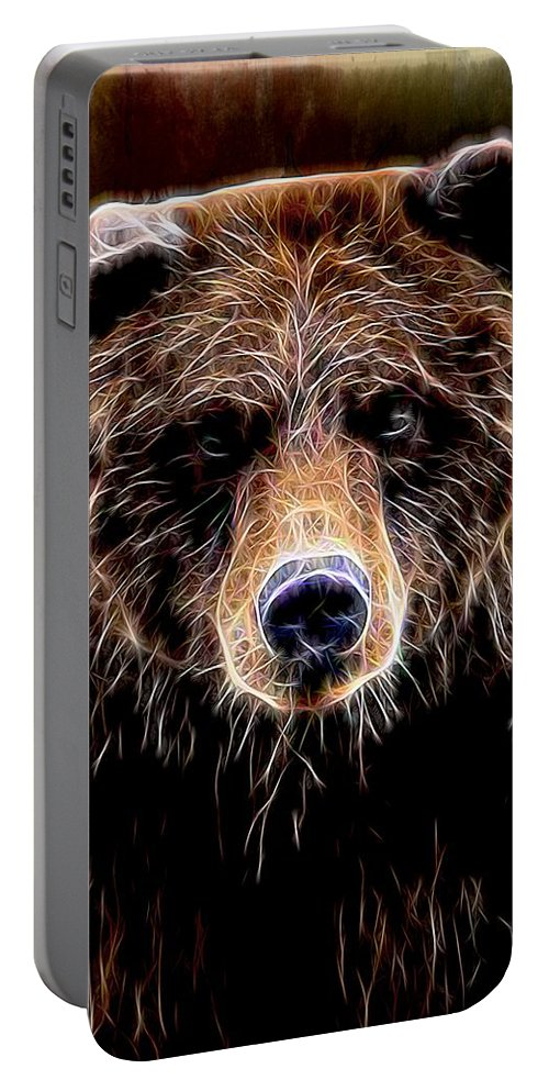 Bear Portable Battery Charger featuring the digital art Don't Run by Aaron Berg