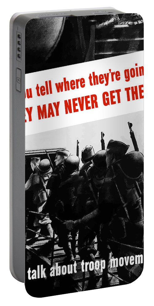 World War Ii Portable Battery Charger featuring the painting Don't Talk About Troop Movements by War Is Hell Store