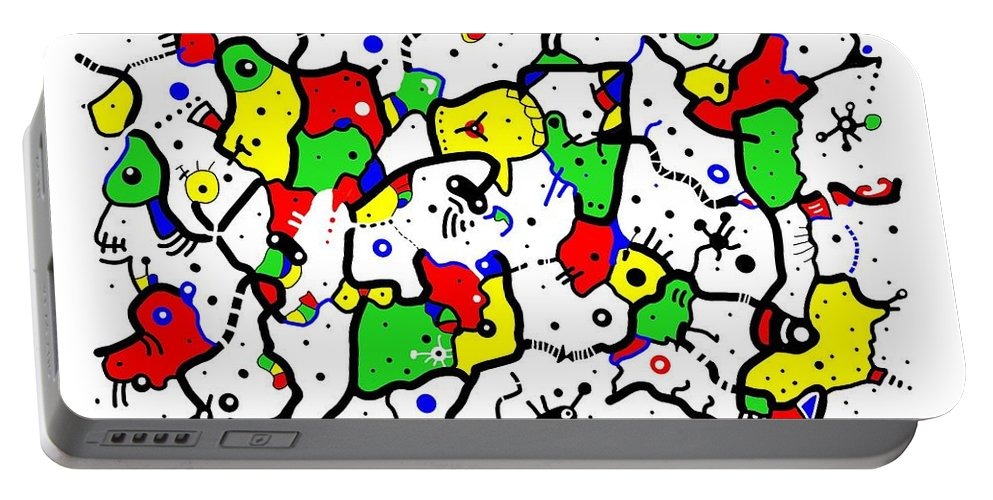 Abstract Portable Battery Charger featuring the digital art Doodle Abstract by Marv Vandehey
