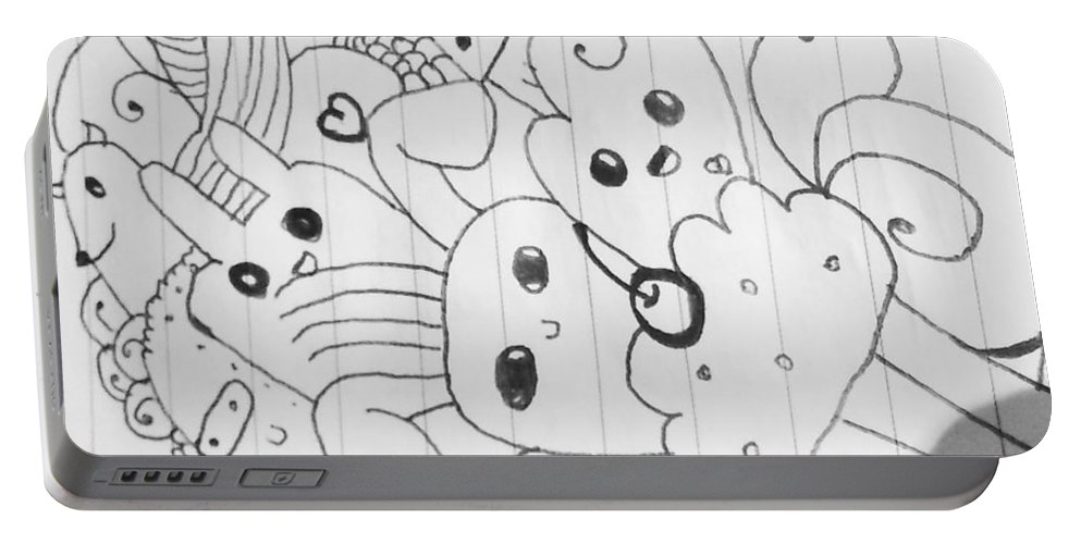 Doodle Portable Battery Charger featuring the drawing Doodle by Kasih Nurlaila