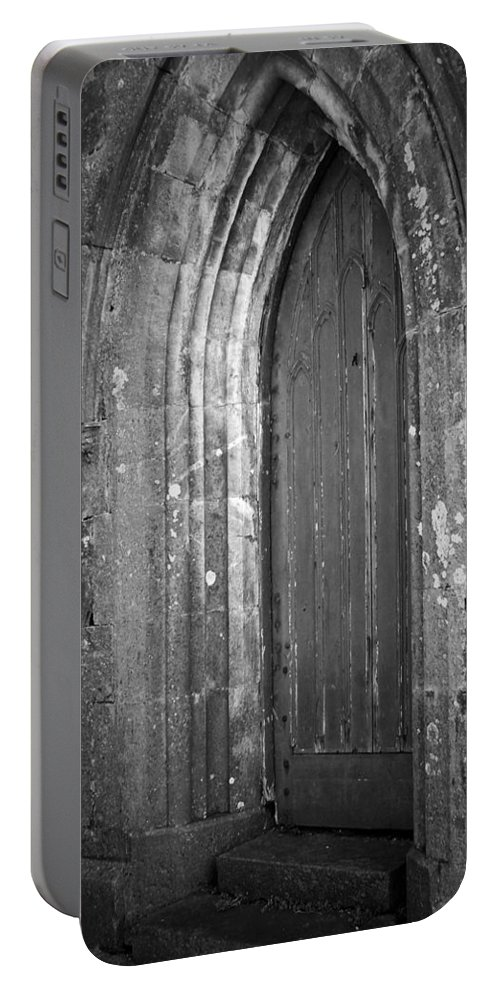 Irish Portable Battery Charger featuring the photograph Door At Protestant Church Macroom Ireland by Teresa Mucha