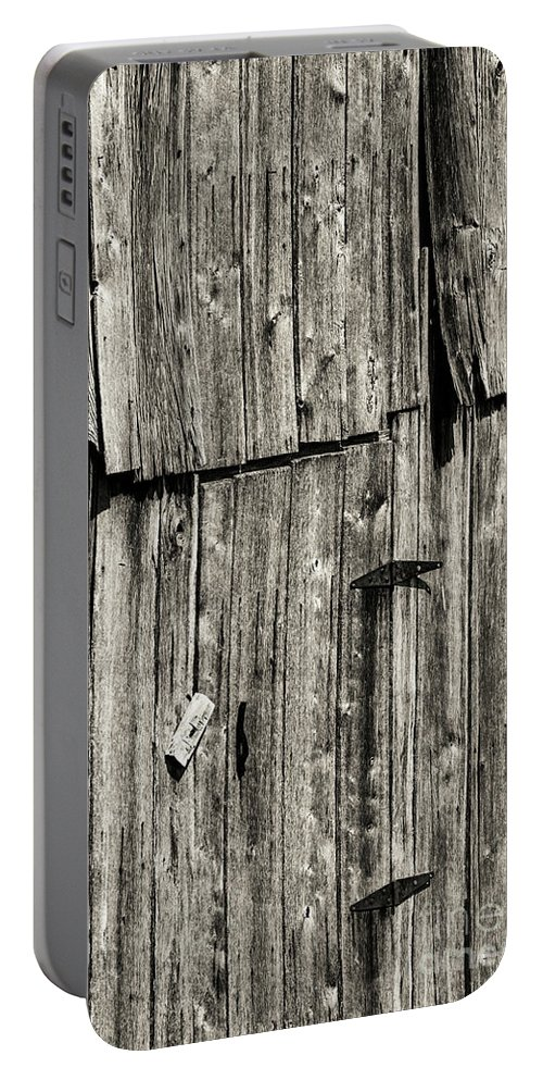 New Castle Virginia Barn Slats Wood Slat Barns Texture Textures Odds And Ends Black And White Sepia Portable Battery Charger featuring the photograph Door Latch And Hinges 3 by Bob Phillips