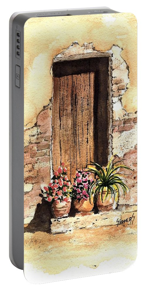 Door Portable Battery Charger featuring the painting Door With Flowers by Sam Sidders