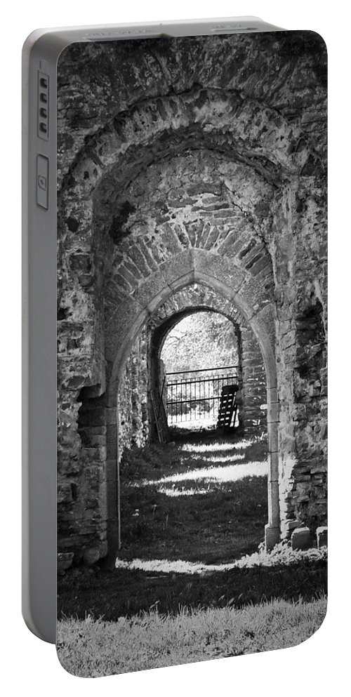 Irish Portable Battery Charger featuring the photograph Doors At Ballybeg Priory In Buttevant Ireland by Teresa Mucha
