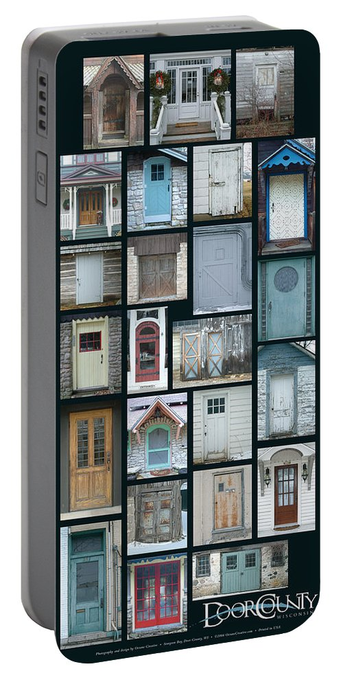 Doors Portable Battery Charger featuring the photograph Doors Of Door County Poster by Tim Nyberg