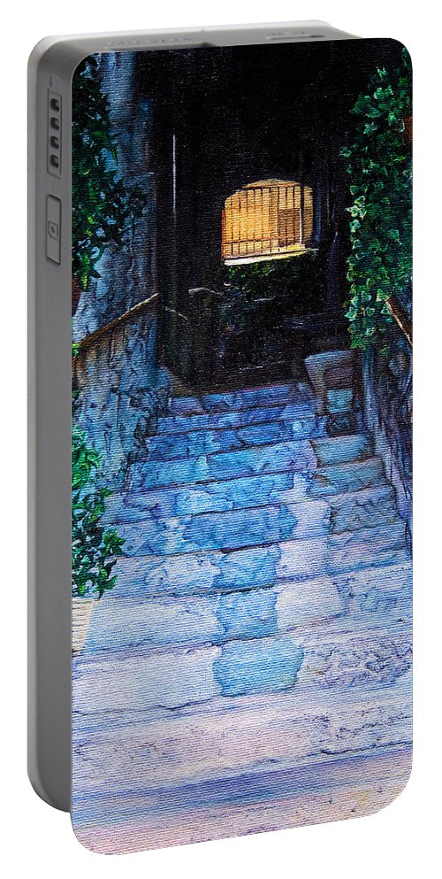 History Portable Battery Charger featuring the painting Doorsteps by Michel Angelo Rossi