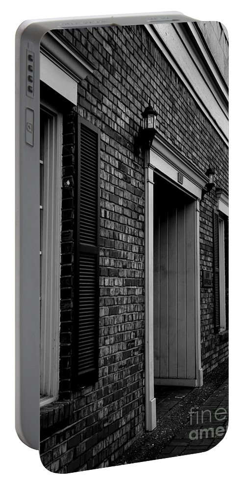 Nashville Portable Battery Charger featuring the photograph Doorway Black And White by Marina McLain