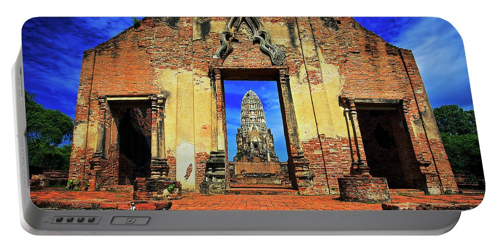 Ayuthaya Portable Battery Charger featuring the photograph Doorway To Wat Ratburana In Ayutthaya, Thailand by Sam Antonio Photography