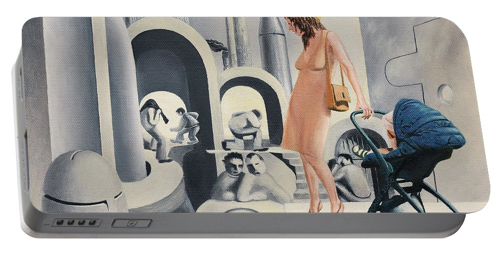 Woman Portable Battery Charger featuring the painting Dope Dupe Museum by Oleg Konin