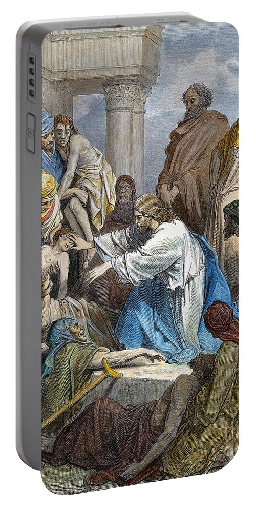 19th Century Portable Battery Charger featuring the photograph Dor�: Jesus Healing Sick by Granger