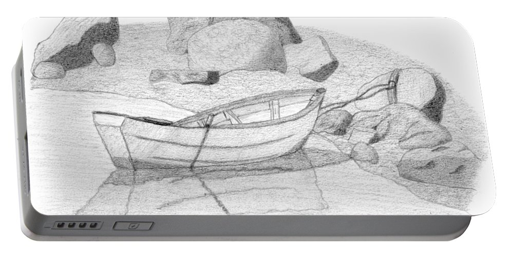 Selinda Portable Battery Charger featuring the drawing Dory In The Cove by Selinda Van Horn